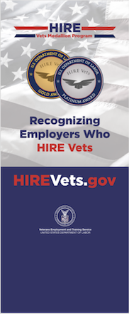 HIRE Vets Medallion Pop-up Banner with Tagline Graphic